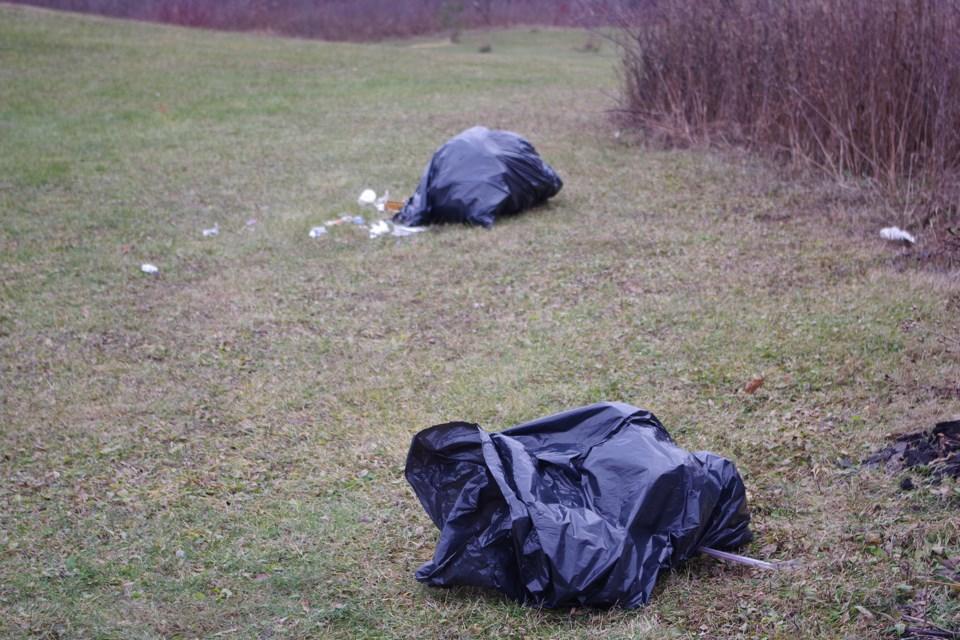 Garbage bags dumped in Mel Swart Park - no excuse. Bob Liddycoat/ThoroldNews