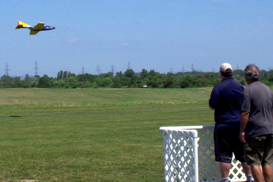 Tim Koop makes mini jet aircraft soar to great heights, then skim the ground at top speeds. Bob Liddycoat / Thorold News