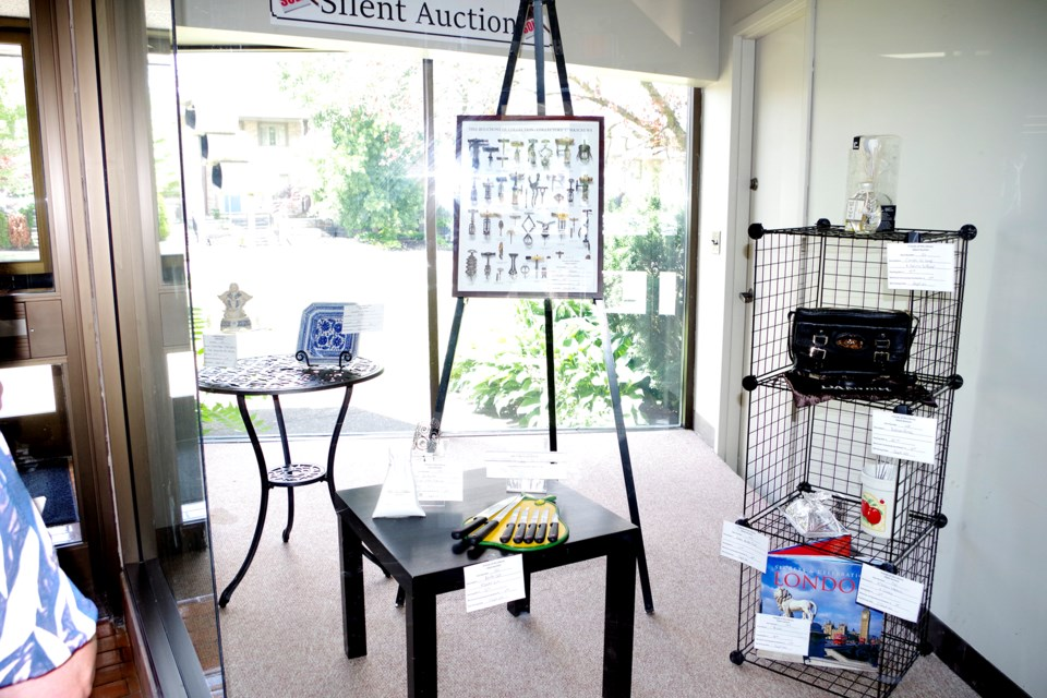 Several silent auction items are on display at the Thorold Public Library. Bob Liddycoat / Thorold News