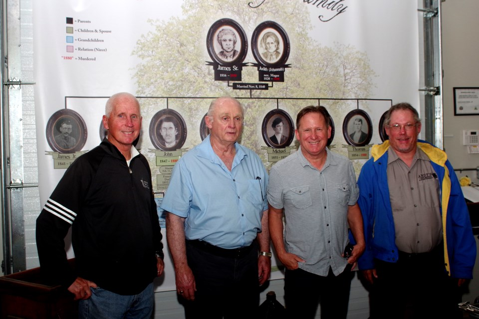 An article in the Thorold News alerted James Cameron, grandson of Will Donnelly, about the Newman family - descendants of Patrick Donnelly living in Niagara. Pictured (l-r) are Peter Newman, Jim Cameron, Matt Newman and Andy Newman. Bob Liddycoat / Thorold News
