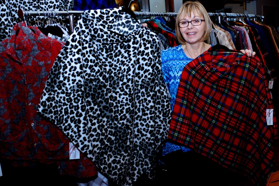 Marlene Hamilton's homemade wraps and ponchos come in a variety of patterns and fabrics. Bob Liddycoat / Thorold News