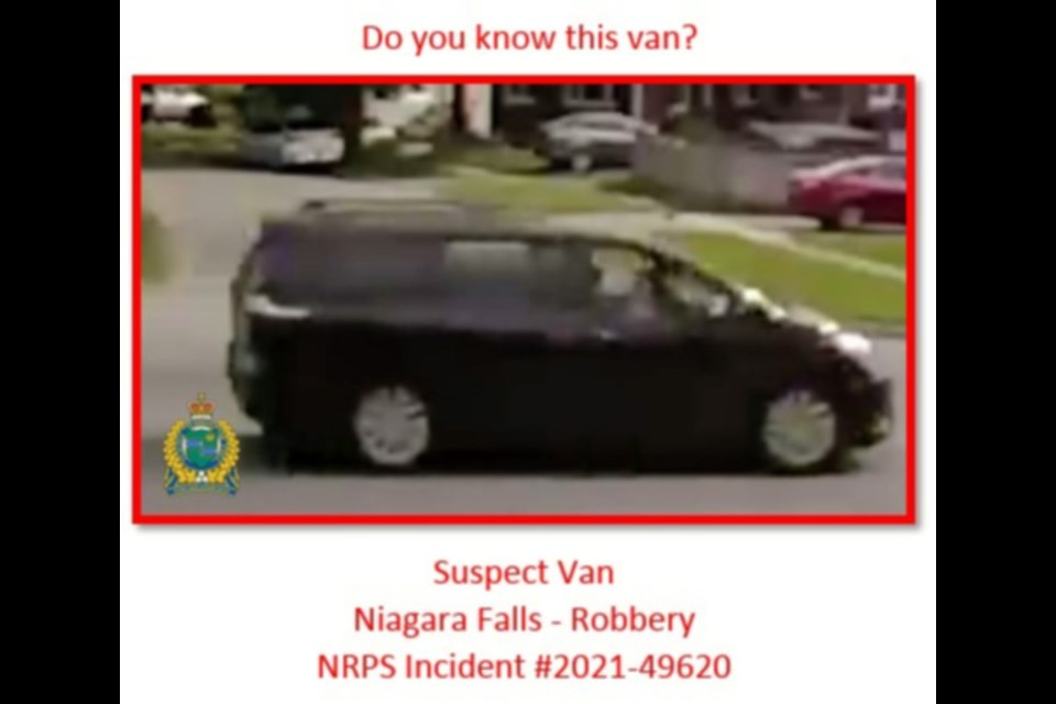 Vehicle driven by robbery suspects on May 23 2021.