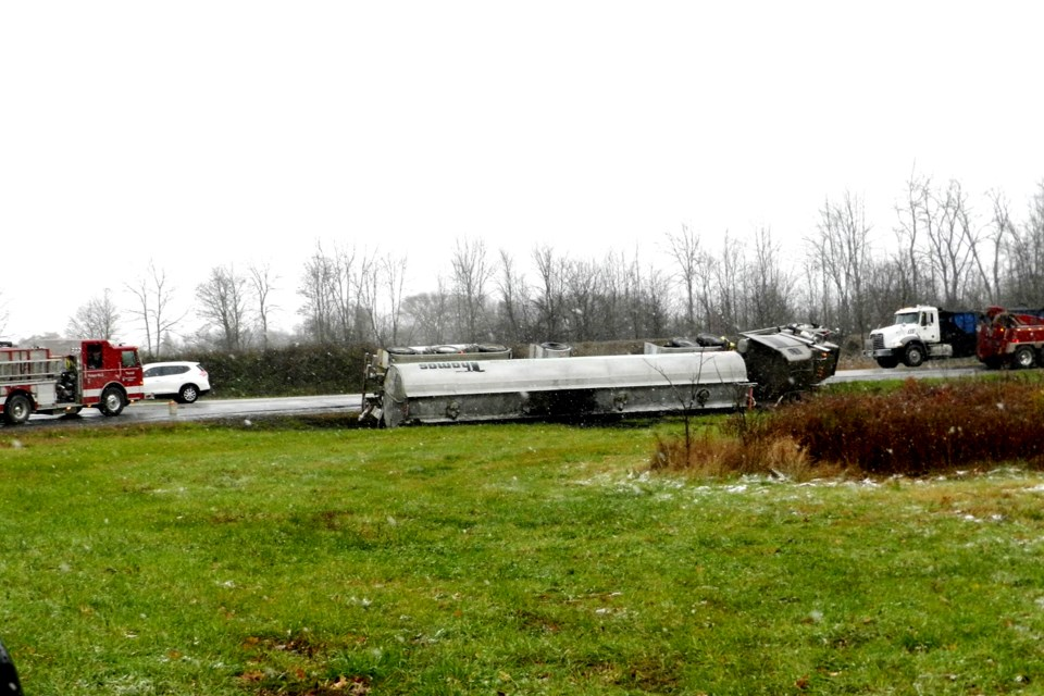 A tractor trailer rollover involving a tanker, reportedly carrying manure, occurred mid-morning in Port Robinson. Bob Liddycoat/ThoroldNews
