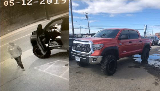 Photos provided by Niagara Regional Police shows truck stolen in St. Catharines and surveillance photo of suspect