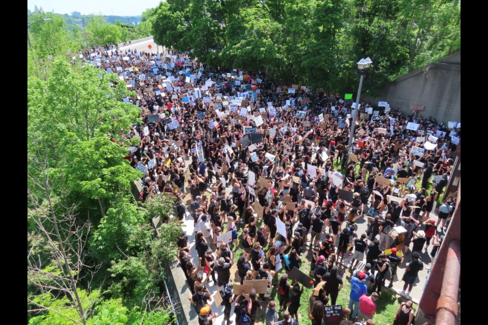Hundreds of protesters gathered near the Whirlpool Bridge on Saturday. Photo: Ludvig Drevfjall/Thorold News
