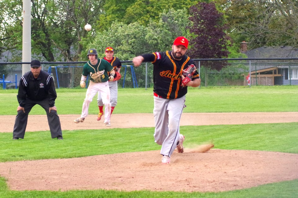 Jake Maxwell delivers a pitch for the Anchors. He had 8 strikeouts in the game. Bob Liddycoat / Thorold News
