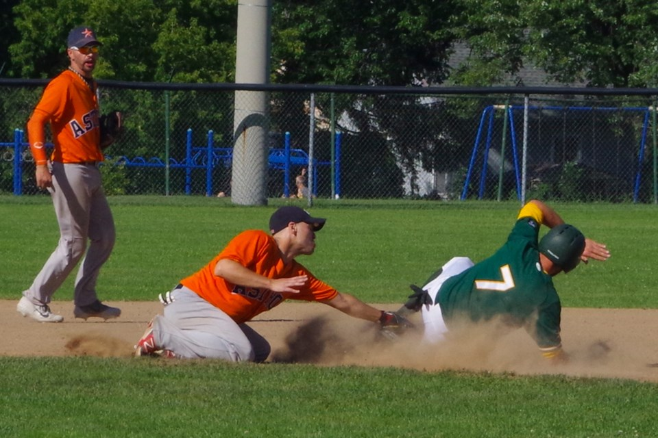 Early OBA tournament action saw the battle of the Astros. Jeremy Windsor (7) of Lisle Astros stealing second in their game against the Mitchell Astros. Mitchell won this game by a 12-2 score. They knocked Thorold out of competition but lost to Simcoe in the final game. Bob Liddycoat / Thorold News