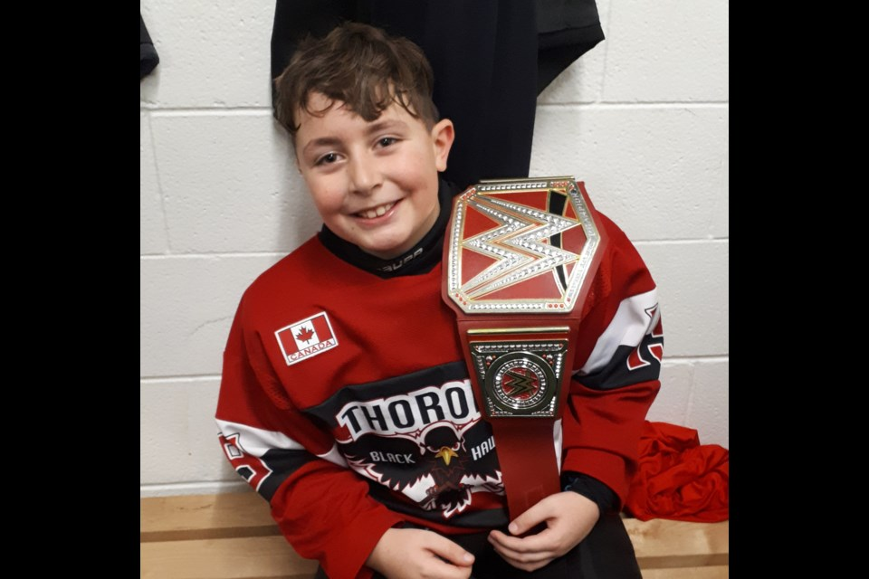 Atom player of the game Ethan Lampman. Submitted Photo