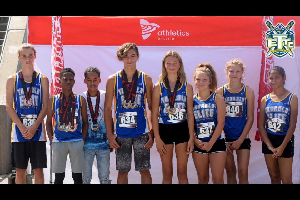 U14 Champion Track team, (l-r): Kaleb Kennedy, Tyrese Gibson, Malachi Campbell, Carson Gauthier, Ava Neumann, Michaela McFadden, Cassi Orr and Yashvi Patel. Submitted Photo