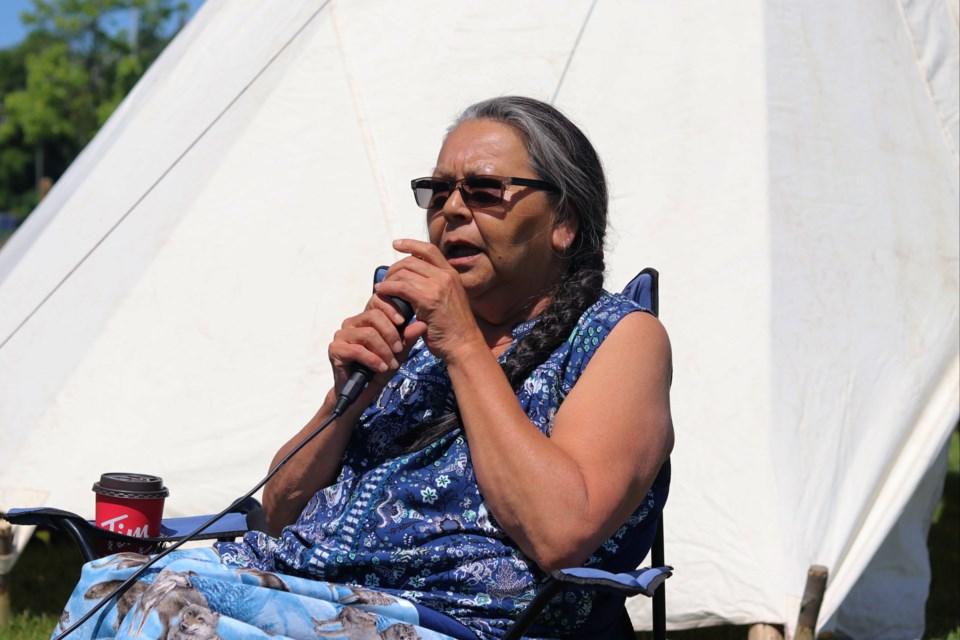 Timmins resident Sophie Gunner-Sackabuckskum leads a discussion event at Gillies Lake Monday, June 29. Dariya Baiguzhiyeva/TimminsToday