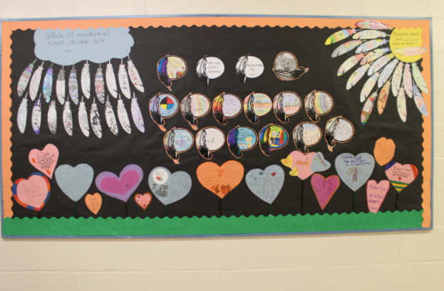 A bulletin board displays Moosonee Public School students' work. Supplied photo