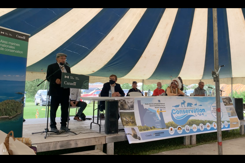 Moose Cree Chief Mervin Cheechoo gives a speech during a memorandum of understanding (MOU) signing ceremony held in Moose Factory Monday.