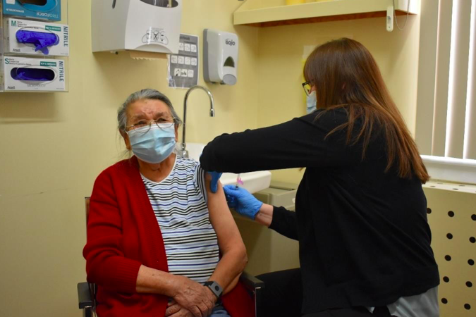 The first elder to receive the COVID-19 Moderna Vaccine is Gertrude Johnstone, a retired healthcare provider. Supplied photo