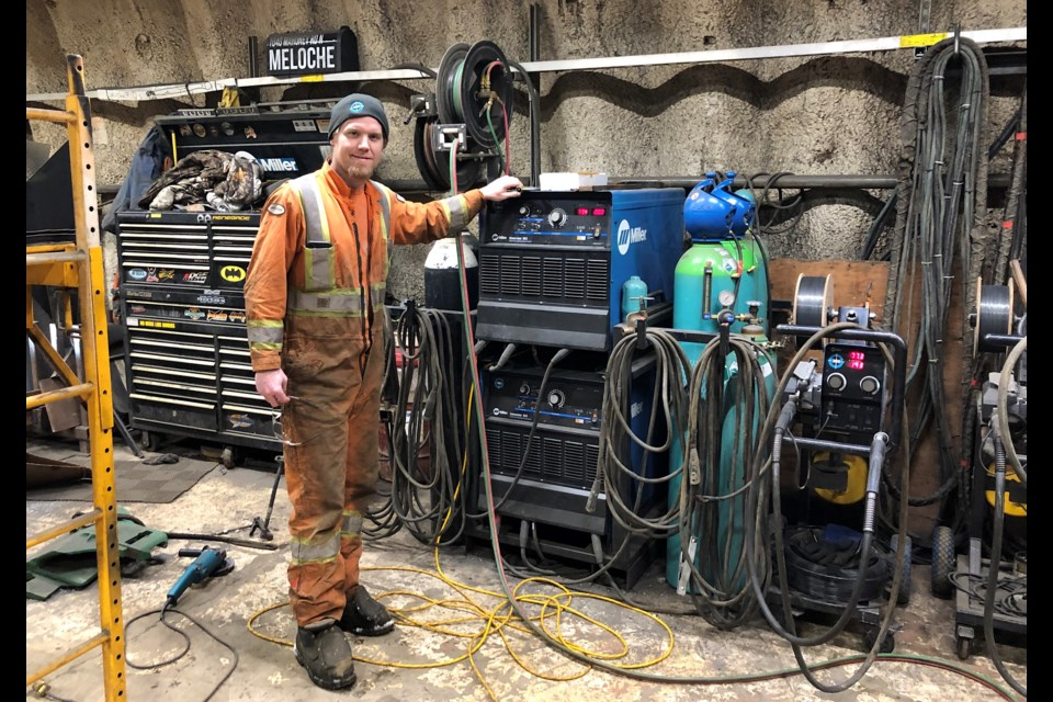 Seb Meloche, president of 360 Services Inc., inside his shop. Meloche, an experienced welder, started the business with a truck and trailer. Today, the growing company has 10 employees. Wayne Snider for TimminsToday