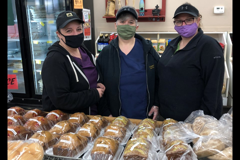 Staff at Hollinger House Bakery and Deli enjoy serving freshly made food daily to customers in Timmins. From left are owner Carole Rocheleau, Pauline Swerdfiger and Darla LaRocque.