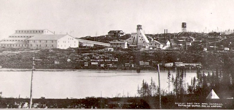 An early view of the Hollinger Mine, showing Miller Lake in the foreground. The lake would eventual be the site of Hollinger Park.