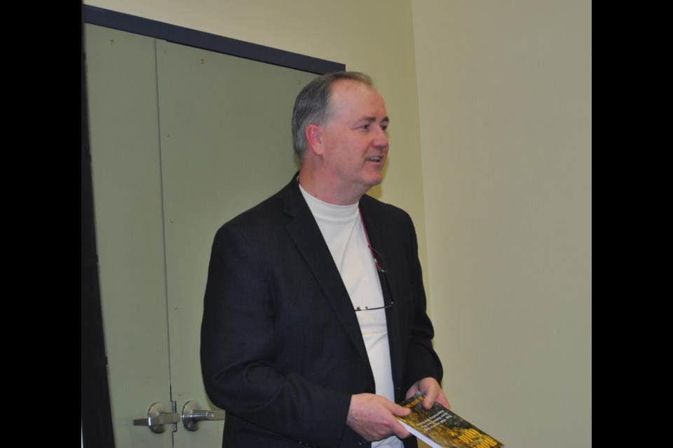 Timmins author, Kevin Vincent launched his second book about gold robberies in Timmins at the Timmins Public Library, last night. Frank Giorno for TimminsToday.