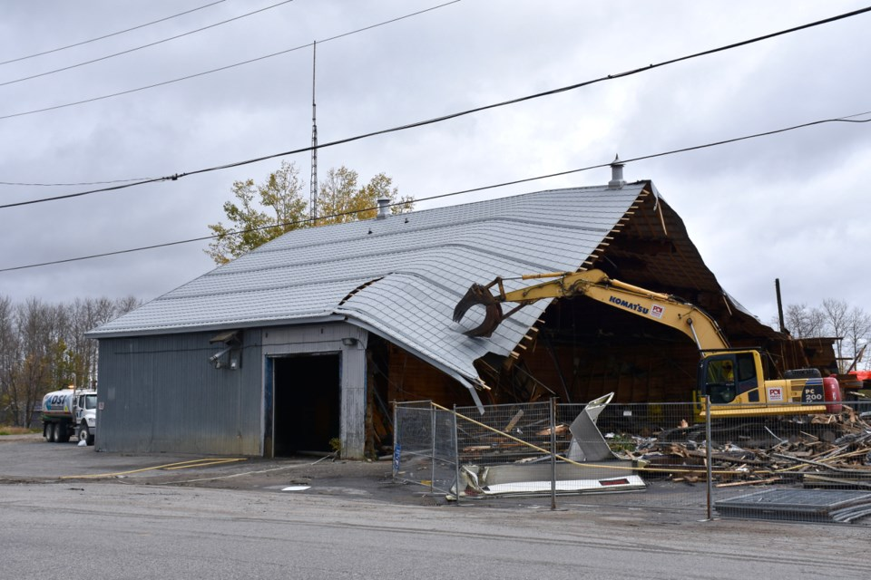 The former Tisdale Public Works shop is one of three city-owned buildings being demolished by the Salvage Kings. Maija Hoggett/TimminsToday