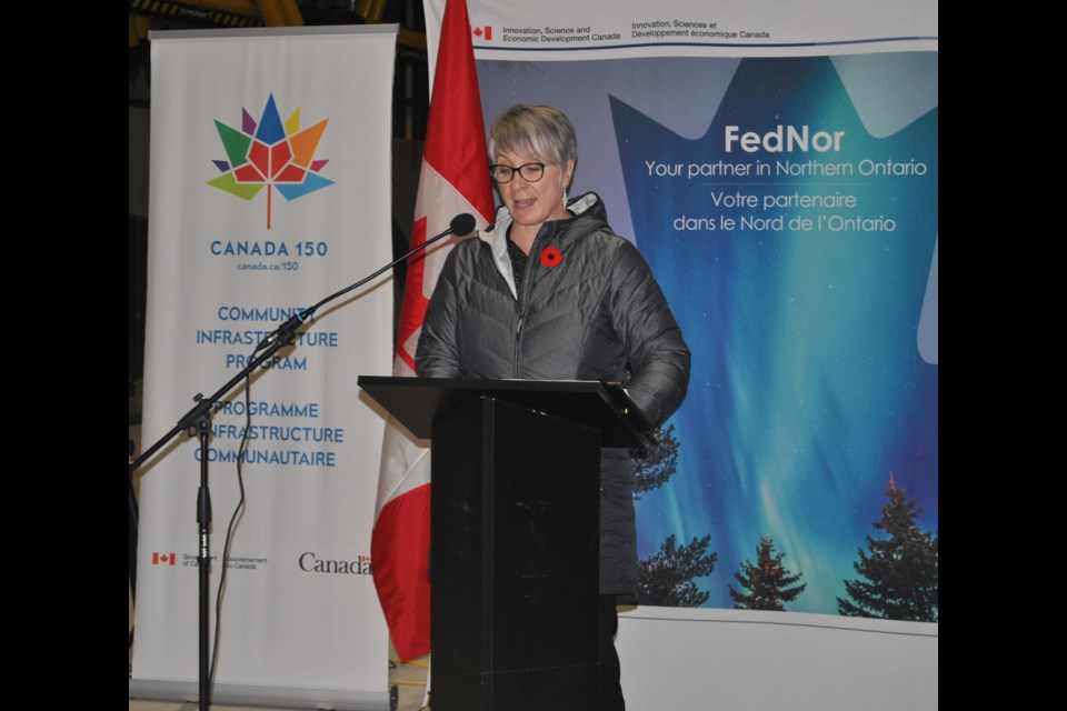 Patty Hajdu, Minister for the Status of Women and MP for Thunder Bay-Superior North announces $5.1 million dollars in  infrastructure funding in Timmins yesterday at the Bucket Shop. Frank Giorno for TimminsToday.