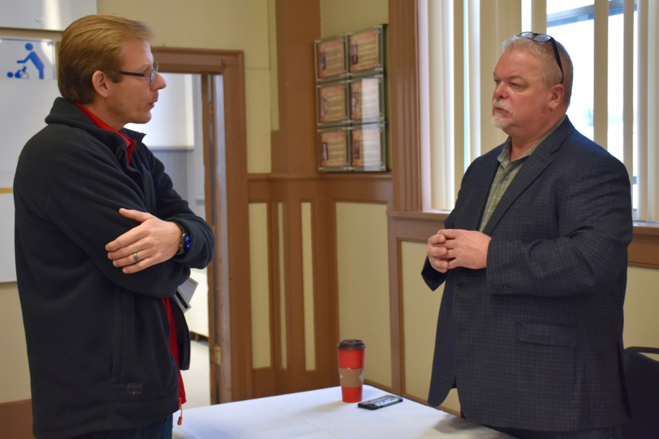 GoWest's Bradshaw mine manager Greg Hart talks networks at the Timmins Chamber of Commerce's annual Meet the Purchaser event. Maija Hoggett/TimminsToday