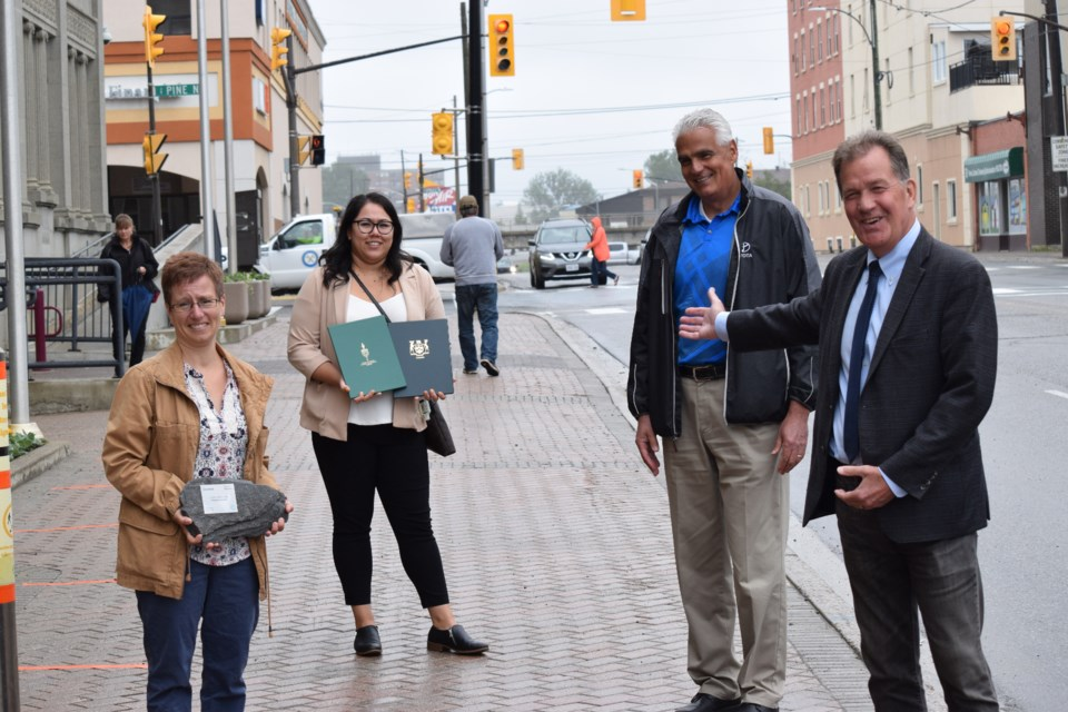 The Timmins Chamber of Commerce marked Humanagement's fifth anniversary with a Member Milestone. Pictured, from left, is Nancy Riopel, Courtney Laforest from MPP Gilles Bisson's office, Chamber president Val Venneri, and Timmins Mayor George Pirie. Supplied photo