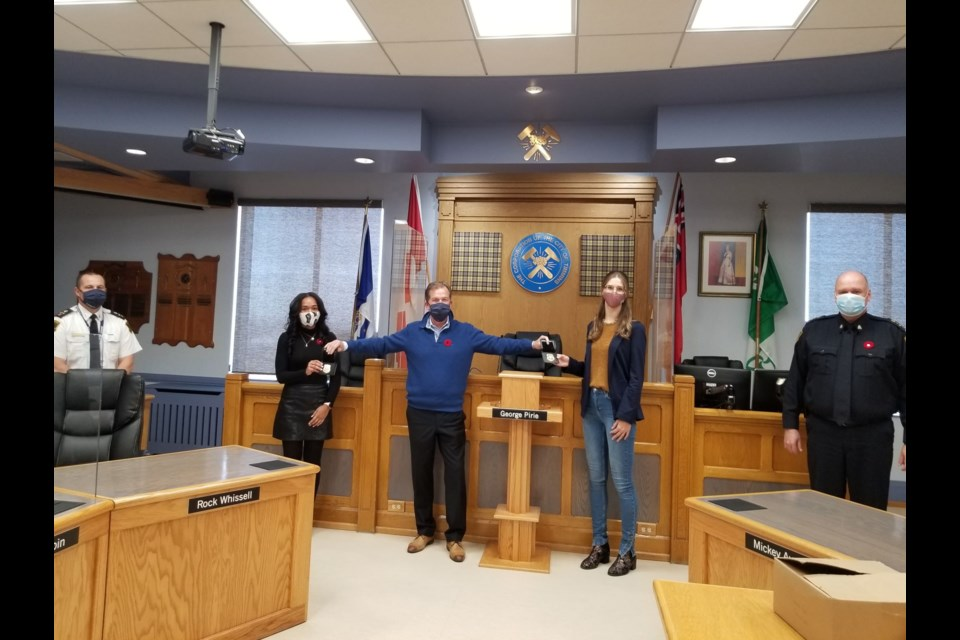 Timmins Police Deputy Chief Henry Dacosta, left, Coun. Kristin Murray, Mayor George Pirie, Coun. Michelle Boileau, and Police Chief John Gauthier. Boileau and Murray were sworn in as members of the Timmins Police Services Board today. Supplied photo