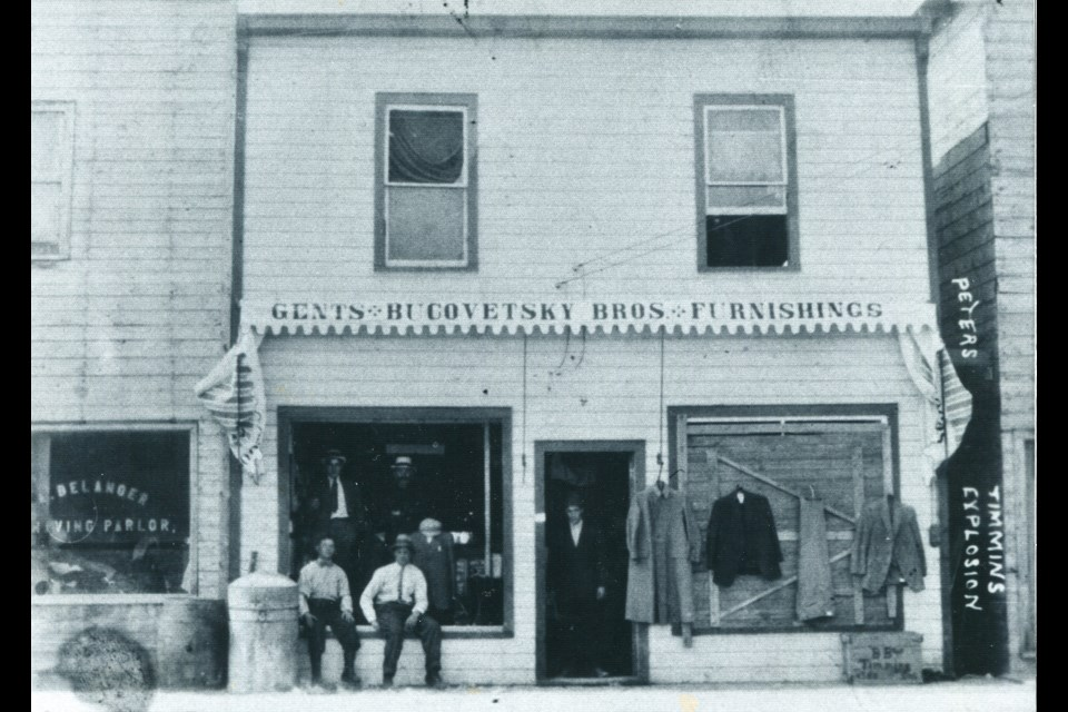 Bucovetsky's store on Third Avenue in Timmins circa 1915. Timmins Museum: National Exhibition Centre photo