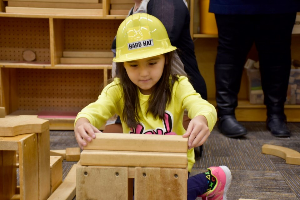 Ava Metatawabin plays at St. Joseph school during an announcement that the Northeastern Catholic District School Board has received $2.2 million to build a new child care facility at St. Joseph School in South Porcupine. Maija Hoggett/TimminsToday