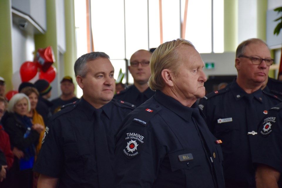 Timmins firefighters, as well as students in Northern College's emergency services programs took part in the grand opening of the Integrated Emergency Services Building. Maija Hoggett/TimminsToday