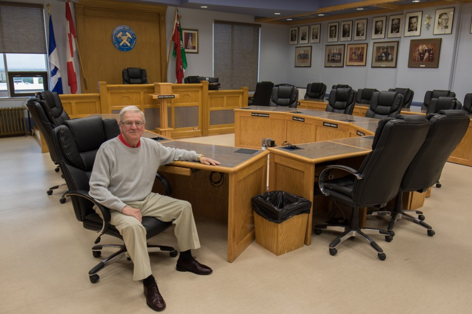 Councillor Michael Doody in his council seat as of 2016. Today is Doody's 80th birthday. Jeff Klassen/TimminsToday