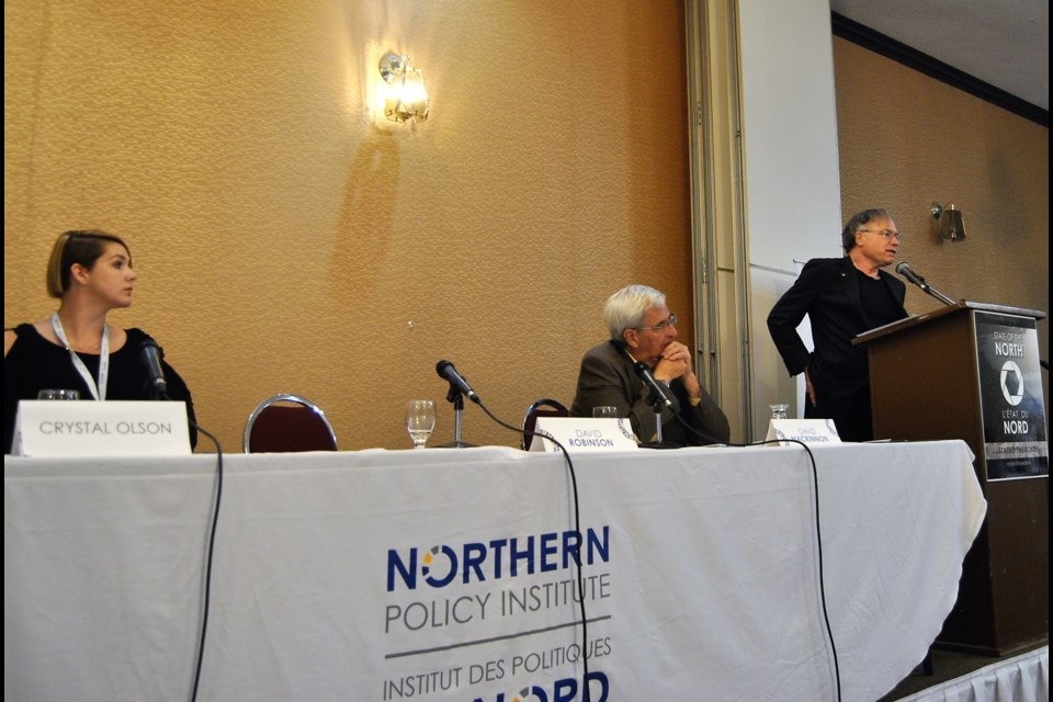 Northern Policy Institute Panel featuring Professor David Robinson (right), David MacKinnon, centre and Crystal Olson examines the benefits and risk of future restructuring options for Northern Ontario. Frank Giorno for TimminsToday.