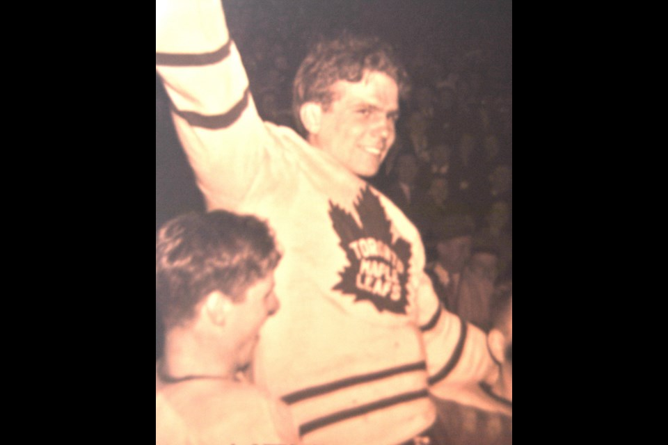 Bill Barilko celebrates his Stanley Cup winning goal in April, 1951. His last goal in the NHL as he died in a tragic plane crash on August 26, 1951. Photo courtesy of Imperial Oil-Turofsky/Hockey Hall of Fame.