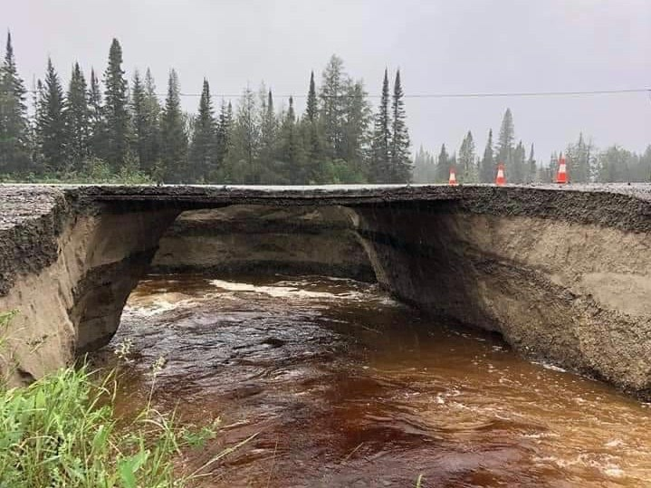 These photos of the Highway 655 washout were shared by @smac0323 on Twitter.