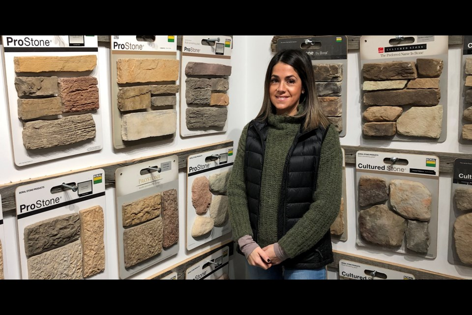 Kelly Mascioli is a civil engineer technologist with Mascioli Construction Co. Ltd. She is a fourth-generation Mascioli working in the family business. Here, she displays some of the products offered in the showroom of the Mascioli Brick Yard. Wayne Snider for TimminsToday.