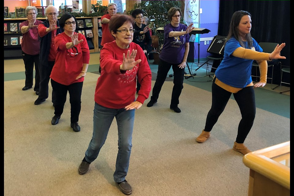 Members of the Timmins branch of Fung Loy Kok Taoist Tai Chi Society recently demonstrated their movements at the Timmins Public Library. Wayne Snider for Timmins Today