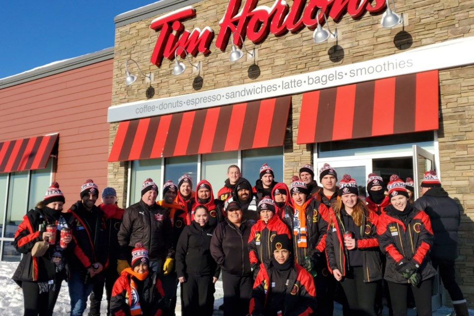 The Kaurna Boomerang hockey team from Adelaide, Australia stopped Jan. 14 to do one of the most Canadian things ever in Athabasca on their way to Calling Lake; a Tim Horton's run.