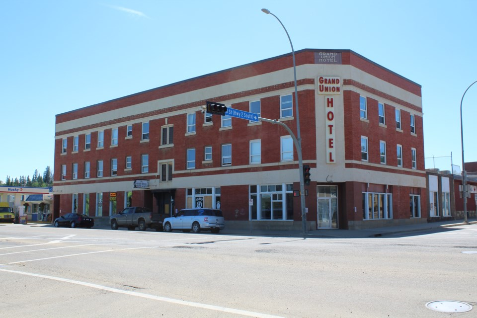 Originally built in 1903 and rebuilt after a fire in 1913, the Grand Union Hotel in Athabasca has become the centre of debate in the community recently. Manager Wayne Nelson allows homeless people to stay during bad weather and at least one town resident feels it needs to be condemned.