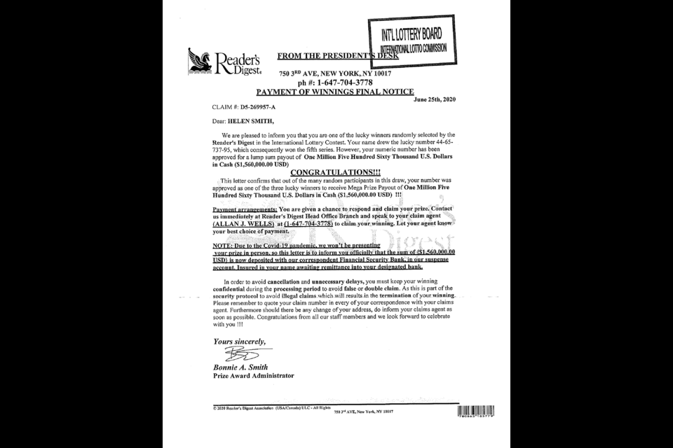 Athabasca resident Helen Smith quickly deduced a letter claiming she had won a tidy sum from Reader's Digest was a fake and wants to warn others. Supplied
