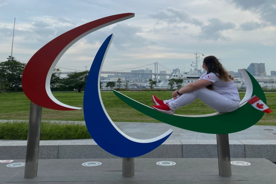 Wandering River native Amber Skyrpan spent a few weeks in Japan preparing for and participating in the Paralympics. She took a moment to reflect while sitting on the symbol for the Paralympics, the Agitos, while looking out over Tokyo.