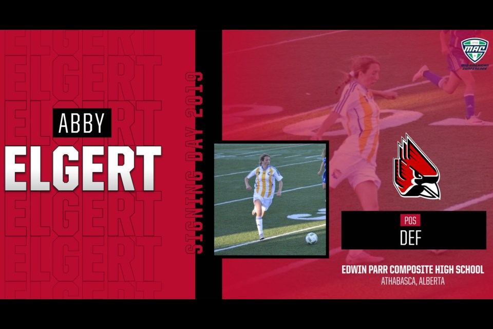 This image is from the official press release from Ball State University for Abby Elgert who will play defence on the Cardinals Women's Soccer team in the NCAA Division I starting in 2020. Submitted