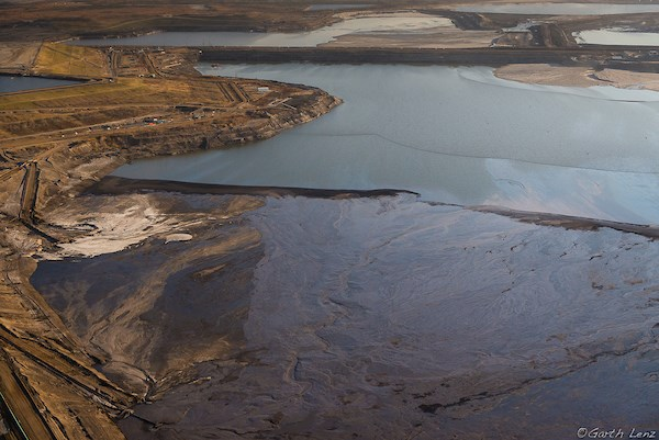 Pictured is the Suncor Fort Hills mining operation and Aurora North tailings pond.  Photo courtesy Garth Lenz