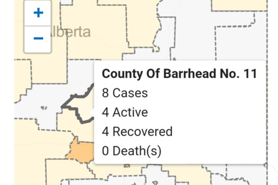 Covid 19 Map Now Lists Four Active Cases In County Of Barrhead Townandcountrytoday Com