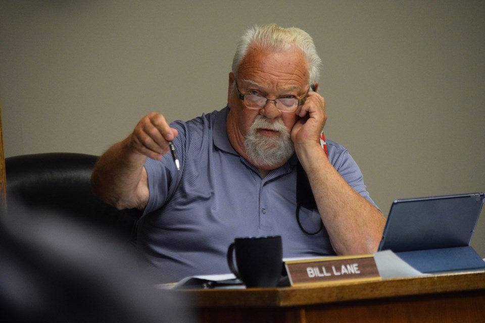 County of Barrhead Coun. Bill Lane asks a question about how close a shed would be to the municipal public reserve land during a June 15 Municipal Planning Commission meeting.