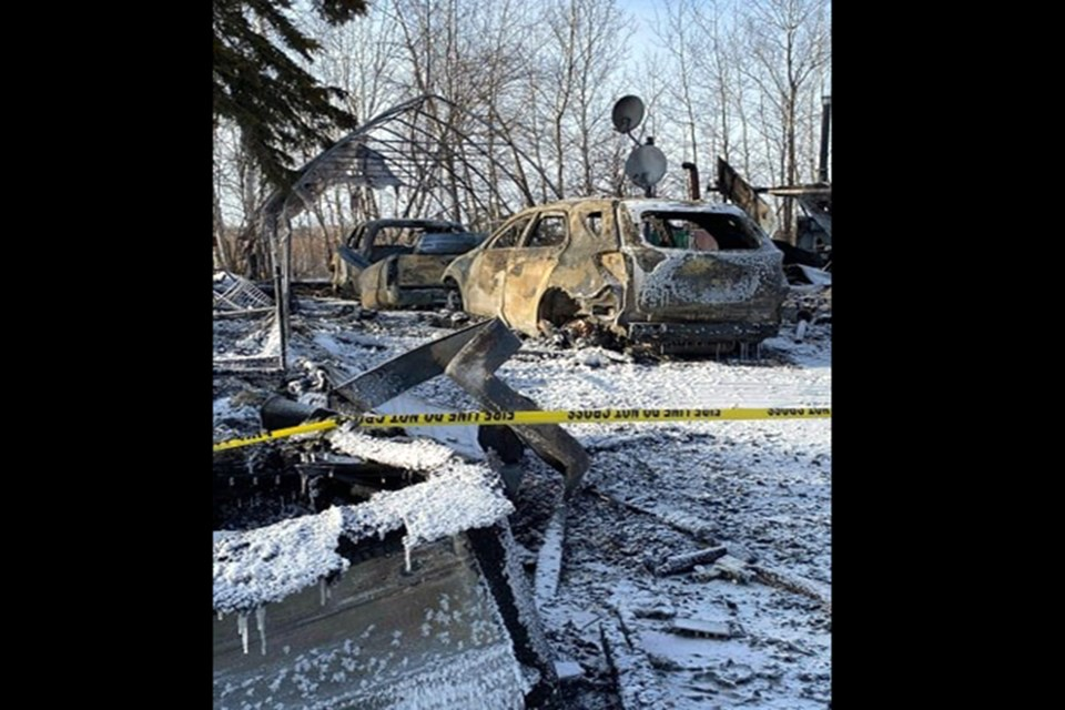 Two homes on a rural property near Jackfish Lake, northeast of Athabasca burned to the ground Feb. 7, leaving very little behind. Evelyn Charlton's family has set up a GoFundMe page, in the hopes her many kind deeds over the years, will come back in support to help build a new home.