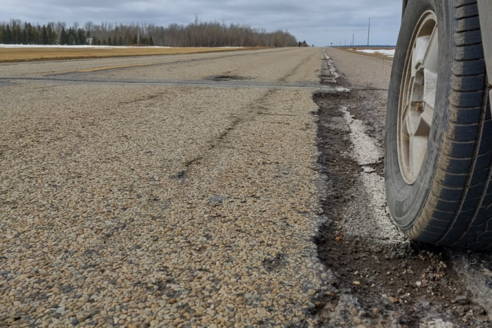 A shot of one ofthe crevicesthatfollows the white lines on Highway 55, just west of the Al-Pac turnoff. A petition to pressure the government to complete a repaving project that has been promised for years in currently circulating and can be found at numerous businesses throughout Athabasca and surrounding areas.Athabasca Countycouncillorsare scheduled to meet Transportation Minister Ric McIver April 8.