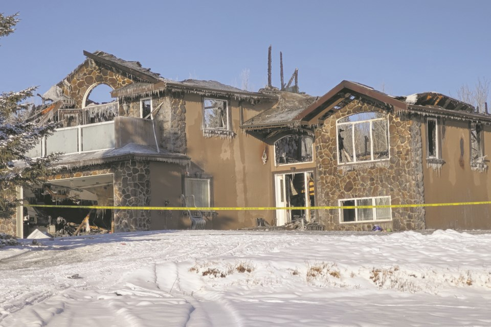 The blaze on Range Road 224, in a subdivision south of Athabasca Jan. 30, was eventually extinguished, but not before gutting the interior of the home.