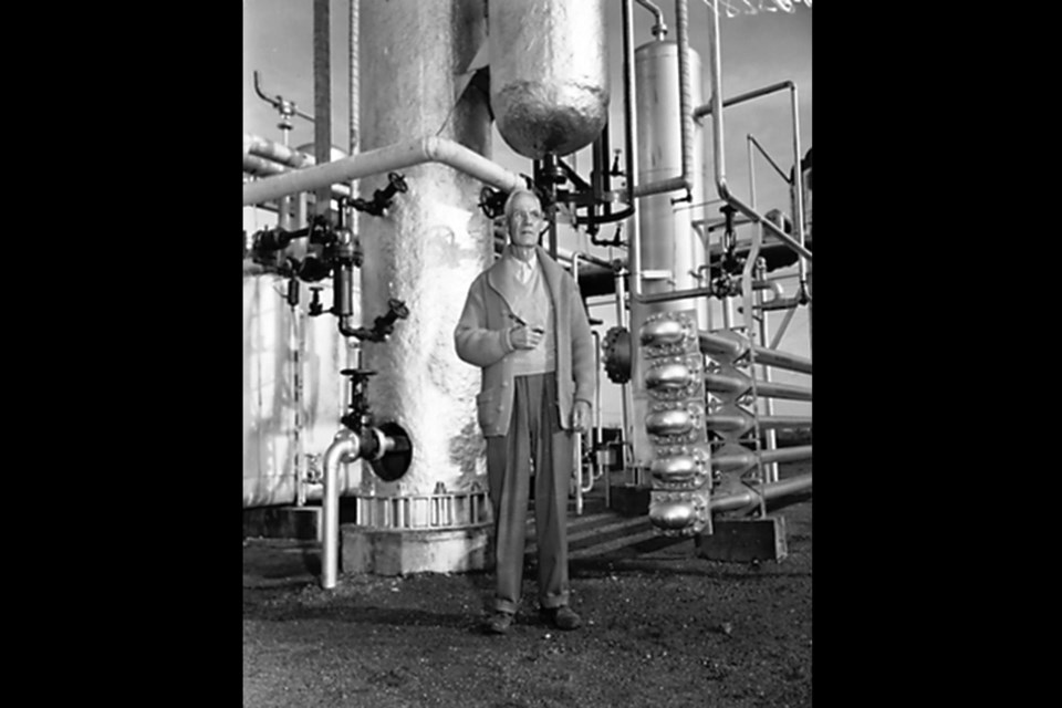 Chemist Karl Clark developed a hot water separation process to separate bitumen from sand. That process was the precursor to today's thermal extraction techniques. ABOVE: Clark in his lab at the University of Alberta, also known as Bitumount, in 1951.