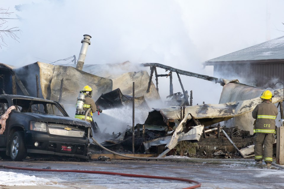 Village of Clyde and Westlock County firefighters, with perimeter assistance from the RCMP, responded to a fire at a trailer in the village around 10 a.m. Dec. 8. Photos by Andreea Resmerita/WN