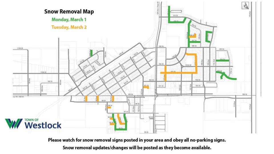 WES snow removal March 1-2