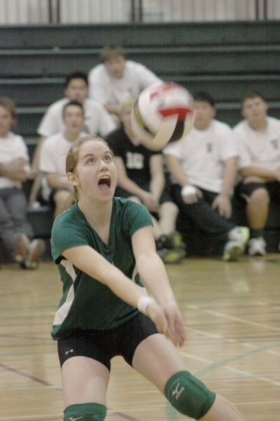 Sarah Windeler prepares for a bump during match at the EPC Senior Volleyball Tournament held at the Athabasca Regional Multiplex and EPC gym in early October